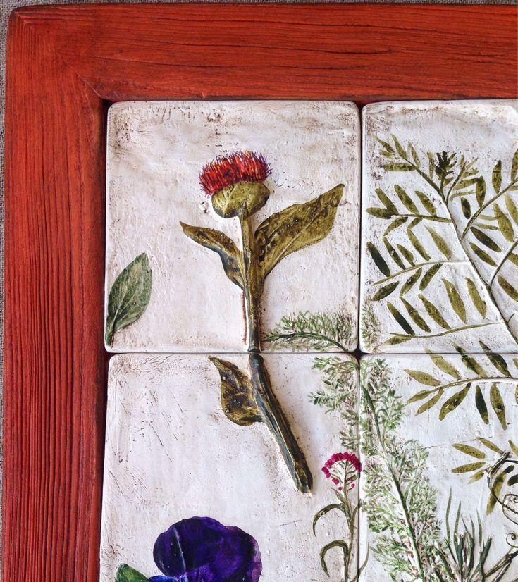 Купить Флористический пазл в пошарпанной раме цвета календулы. - картина в раме, Пазл, флористическая композиция