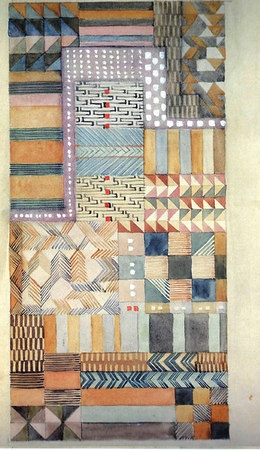 Design for a fabric in Jacquard technique 1927 18.5x37.5 cm Private collection Cooper-Hewitt, National Design Museum, New York