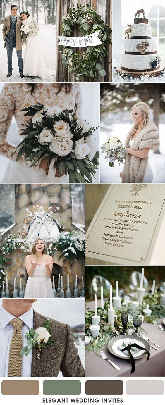 brown and muted sage green winter wedding ideas #WeddingIdeasDream