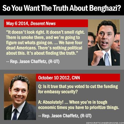 "So You Want The Truth About Benghazi?  Benghazi is all about tarnishing Hillary Clinton before 2016.  The GOP and Fox News are wetting their pants in fear that she will be the nominee.  There's not much they can do about it except scream, ""Benghazi!""."