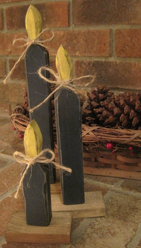 Christmas primitive crafts | Primitive Christmas Candles Wooden Rustic by ... | Christmas Crafts