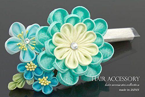 髪飾り つまみ細工 ミントグリーン ビーズ ビジュー コーム