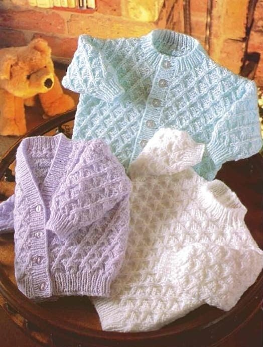 """1 of 1: BABY KNITTING PATTERN Double Knit CARDIGAN & SWEATER 16 18 20 22"""""""