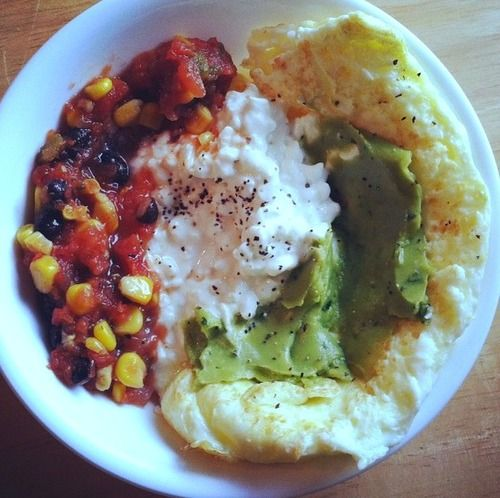 ... White Omelet With Guacamole, Cottage Cheese, and Black Bean Corn Salsa