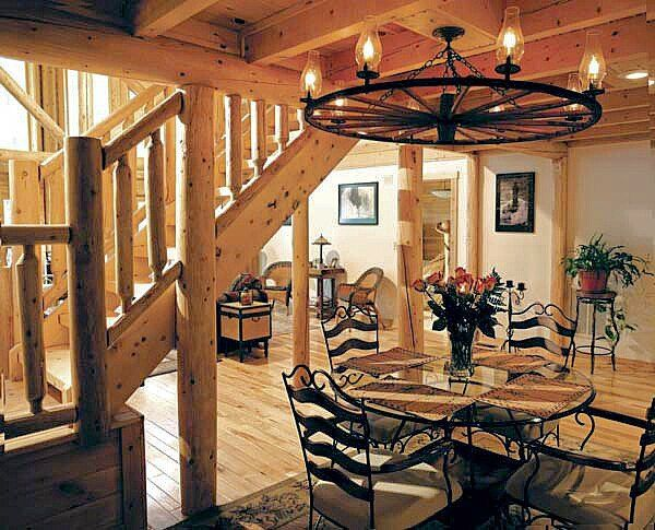 Dining area beside the Stairs with big posts. Very nice ~ jack