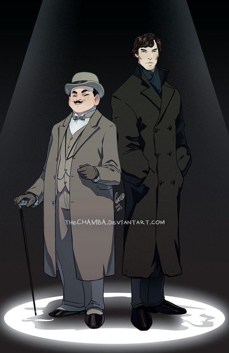 Detective Duo by theCHAMBA.deviantart.com on @deviantART   /   Hercule Poirot & BBC's Sherlock Holmes