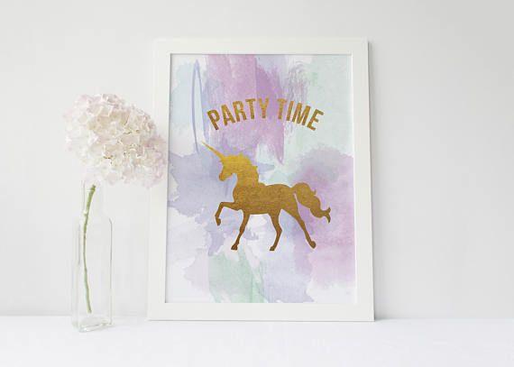 Unicorn Party Time Print Party Time Poster Watercolour