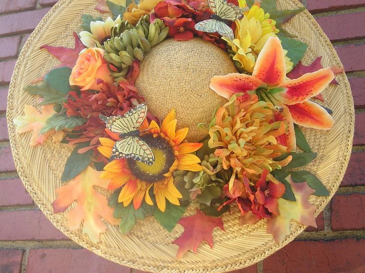Fall Autumn Wreath Straw Hat Door Decoration Home