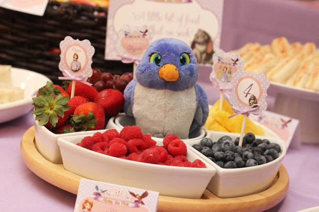 Fun food set up at a Sofia the First party!   See more party ideas at CatchMyParty.com!  #partyideas #sofiathefirst