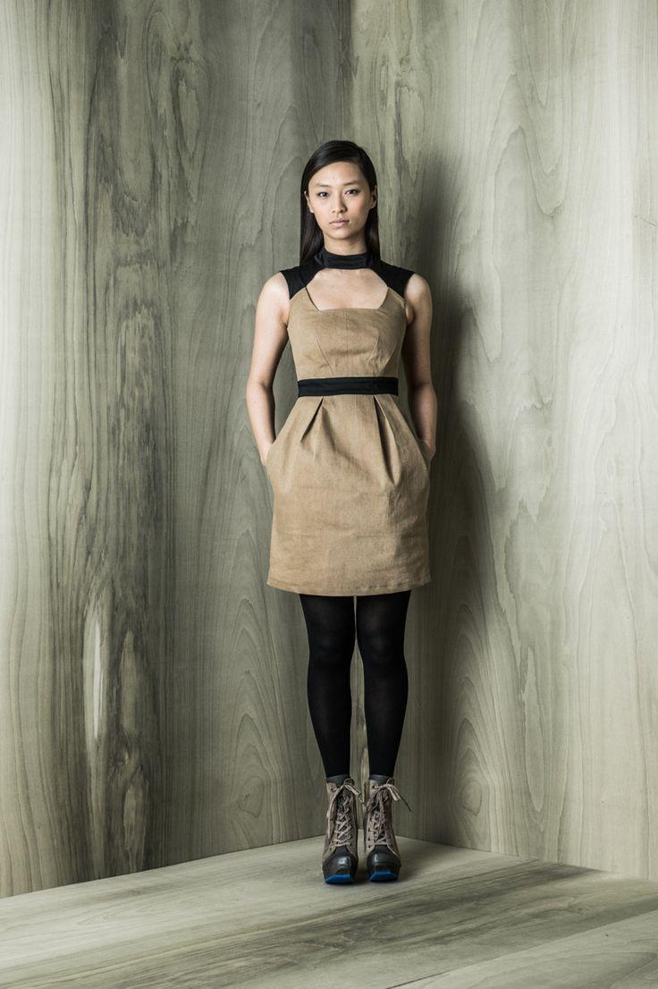 Bjork dress, vintage denim, available in black