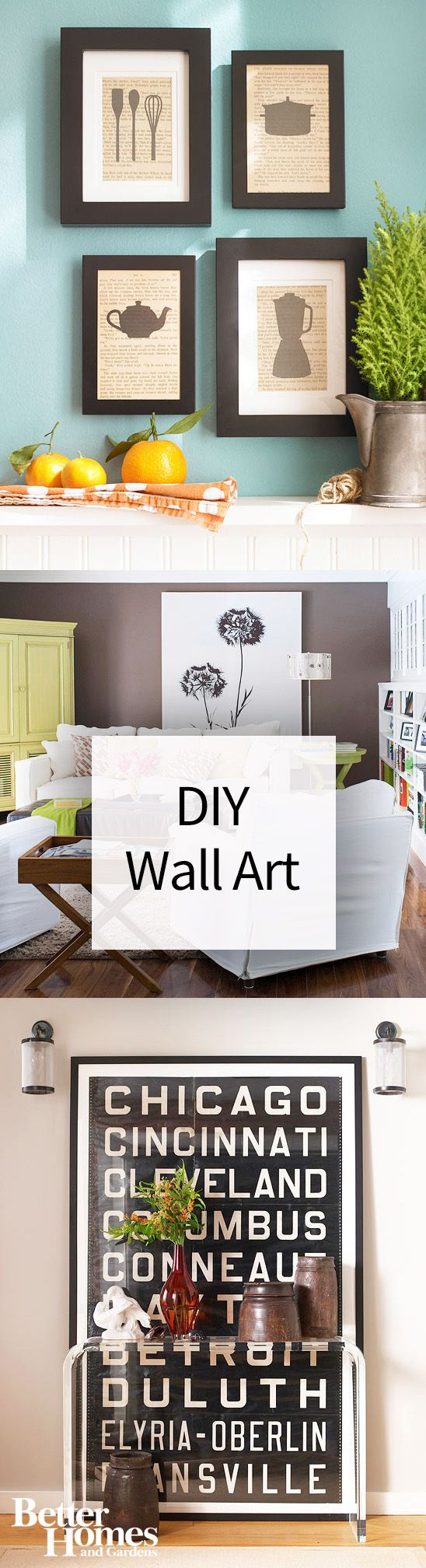 Have a blank wall in your living room, bedroom, or kitchen? These ideas will inspire you to create a gallery wall or hang wall art in frames to spice up the plain white wall. Your home will look more finished and beautiful once you've hung pictures and art on the walls.