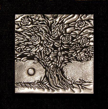 PM323 Rose Tree in Moonlight in Metal by Rheta-Mari Kotze.  Original, one of a kind Aluminium Flashing wall sculpture. Art size: 250/250/15 mm deep.  Framed.  Available   #buyartonline #fineartforsale #metalart #tree #art #sculpture #TreeSculpture #AluminiumFlashingSculpture #AfricanArt #decor #wallSculpture #silverart #rosetreeArt #moon