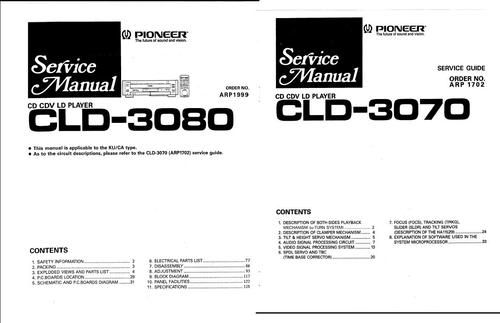 Pioneer CLD-3080 & CLD-3070* Laser Disc , Service Manuals , 2 PDFs combined .  CLD-3070 Service DOWNLOAD