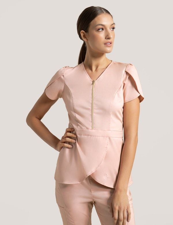 752a1da5424 Tulip Top in Blushing Pink is a contemporary addition to women's medical  scrub outfits. Shop Jaanuu for scrubs, lab coats and other medical apparel.