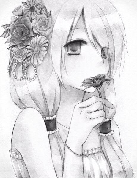 Monochrome anime girl