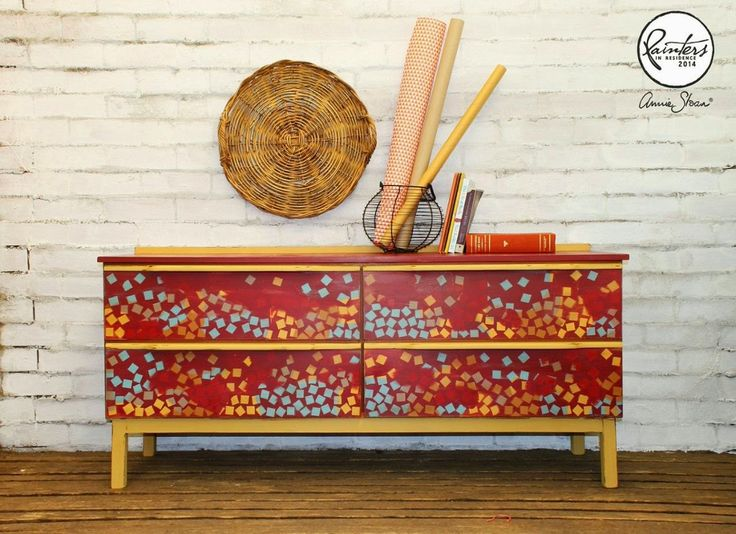 Annie Sloan's Australian Painter in Residence, Beau Ford painted this Geometric Sideboard using Burgundy as her base with Arles, Provence and Emperors Silk, for a colourful bohemian look.