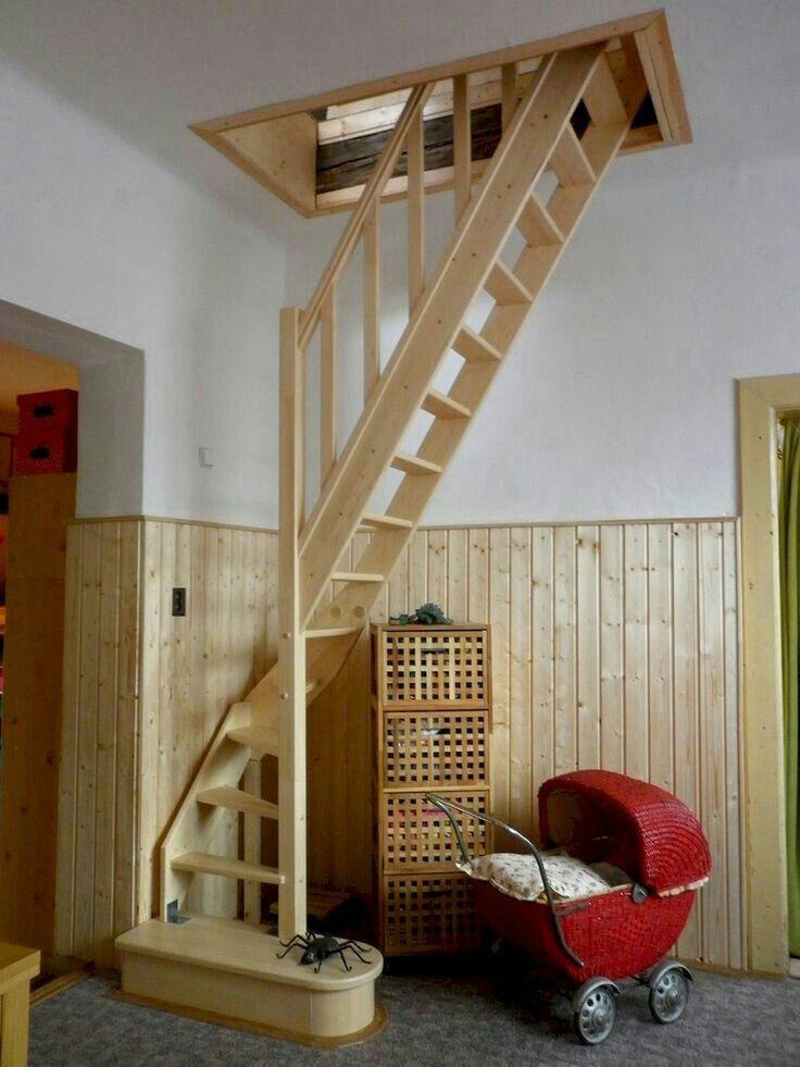 как установить лестницу на мансарду фото самом деле