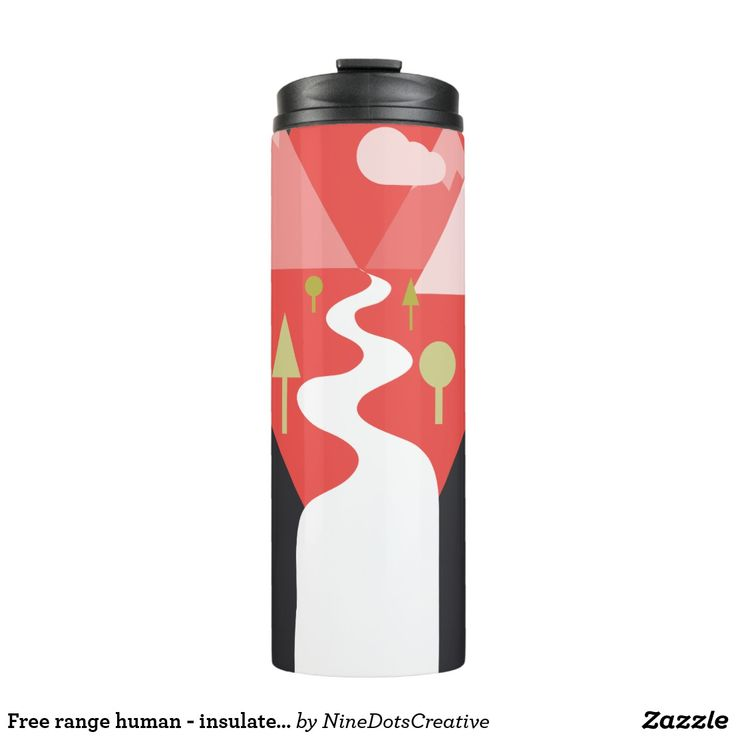 """Free range human - insulated coffee flask  Originally from the Nine Dots Creative Manifesto Illustration which read """"We believe in being free range humans who can go outside and play when we want to"""". But sometimes, we still need coffee, hey? Take this awesome cup with you when you go outside to play!  #graphicdesigner #naturelover #explorer #outdoors #mountains #climber #walker #gift #coffee #flask #thermos #scenery #trekking"""