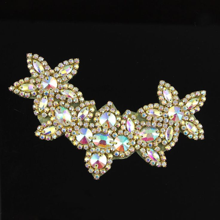 1Piece Fashion Golden Stunning AB Rhinestones Applique Trim Handmade Trim Garment Costume Decoration Freeshipping R2811-in Rhinestones from Home & Garden on Aliexpress.com | Alibaba Group