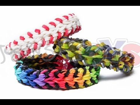 Rainbow Loom - Baseball Stitch Bracelet - Double Over and Under - YouTube
