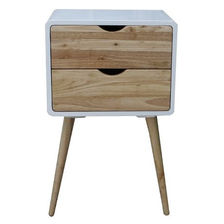 Henry Side Table 30x40cm  Natural/White