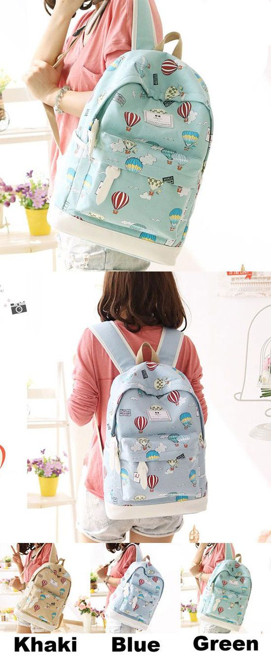 Cute Hot Air Balloon Printing Girl's Canvas Junior High Cartoon School Backpack for big sale! #Backpack #cartoon #school #backpack #hot #bag