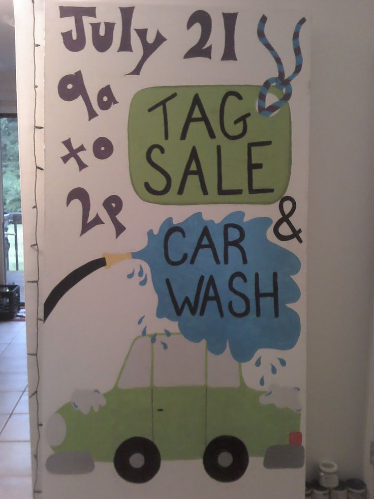 tag sale  u0026 car wash sign