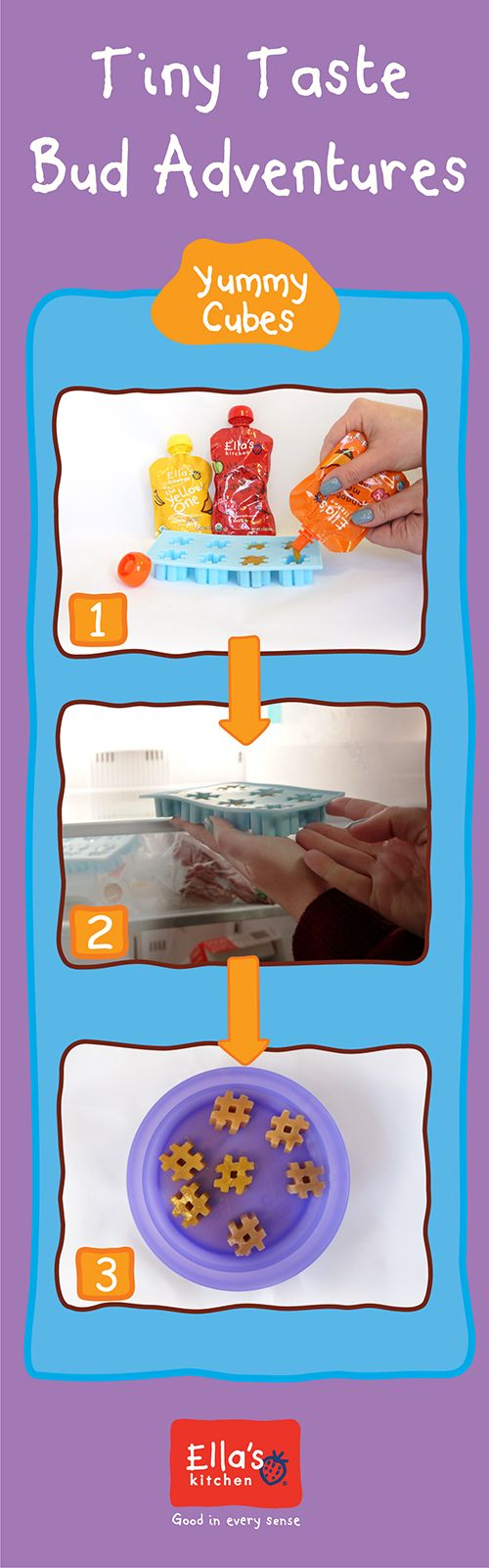 This Tiny Taste Bud Adventure is a super yummy activity for you and your little one to enjoy together! Try with Apples + Strawberries, The Yellow One, and Mangos Mangos Mangos!  Step 1) Gather rubber ice cube molds and Ella's Kitchen purees Step 2) Fill ice cube molds with Ella's Kitchen purees and freeze Step 3) Pop out and use as smoothie mixers or teething treats for tiny teeth!  For the extra little, put the treats in a mesh bag before giving it to them to suck on.: Little One