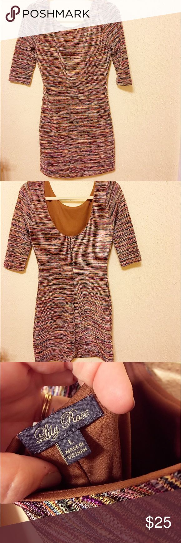 """❗️SALE❗️Lily Rose Striped Mini Dress Multi colored horizontal stripes fitted dress. Low back- need low bra or go without. Best on chest size C and smaller (depending on height). Prominent colors of bronze and browns with purple pink and blue accents. Only worn once in Nashville for bachelorette. SUPER COMFY! Looks great w/ boots/heels - I'm 5'9"""" so dress is extremely short, keep that in mind. My fingers went past length of dress when arms down. Somewhat stretchy, very form fitting, 3/4…"""