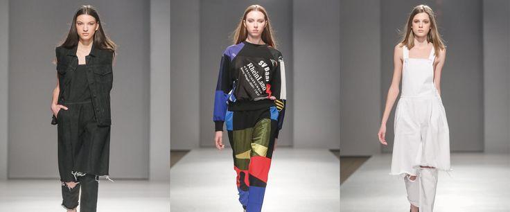Tessuti semplici e vissuti per la nuova collezione di Ksenia Schnaider. Accattivanti patchworks, mix di jeans vintage e tessuto nero, camicie larghe e