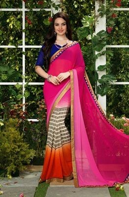 Pink , orange printed georgette saree with dupatta