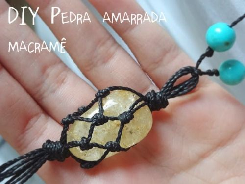 DIY Macrame Stone Necklace Tutorial from Essas Frescurites.This is a really easy DIY and you can always add beads to the ends. You can also take a look at this DIY Netted Stone Necklace Tutorial from Lune Blog here.