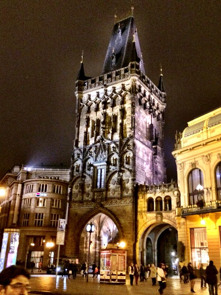 Prague # at night # Prašná brána