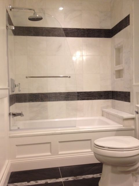 Renovated Guest Bathroom Shower Tile Is Grecian White