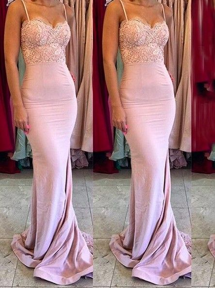 Gorgeous Spaghetti Mermaid Long Bridesmaid Dress with Train