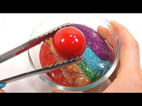 1000 Degree Ball VS Glitter Slime Clay Learn Colors Slime Icecream Toys