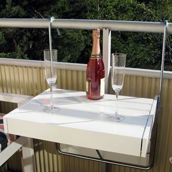 Balcony table that hangs from railing and adjusts in height and length.