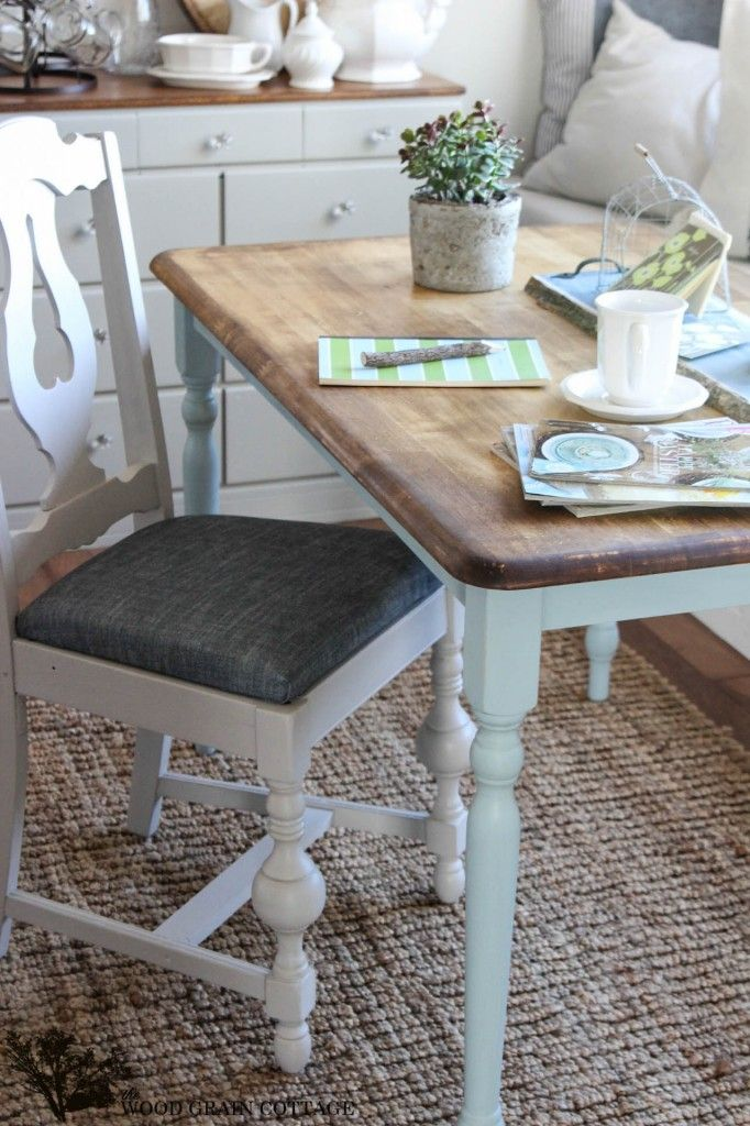 Typical Kitchen Table Like We Have Turned Into Farmhouse Cute! Two Toned  Table By The