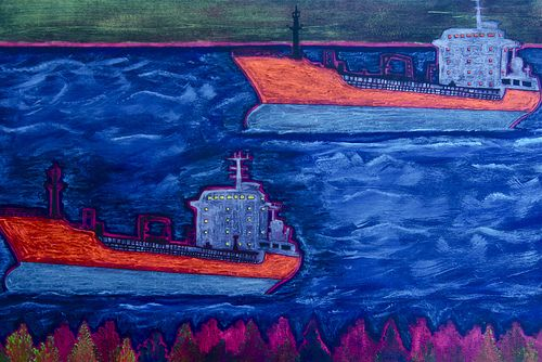 """""""Two Ships"""" 18"""" x 24"""" Acrylic and Resin on Board by Andy MacDonald. Find Andy's work at Argyle Fine Art in Halifax, Nova Scotia :)"""