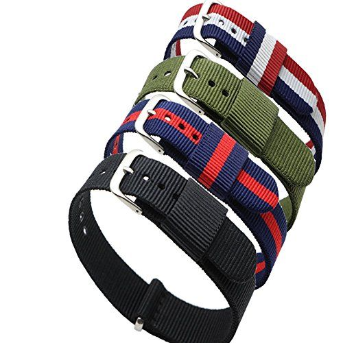 4pc Ritche 20mm Nylon Striped Blue /Red,blue /White/red,black, Army Green Replacement Watch Strap Band Check https://www.carrywatches.com 4pc Ritche 20mm Nylon Striped Blue /Red,blue /White/red,black, Army Green Replacement Watch Strap Band