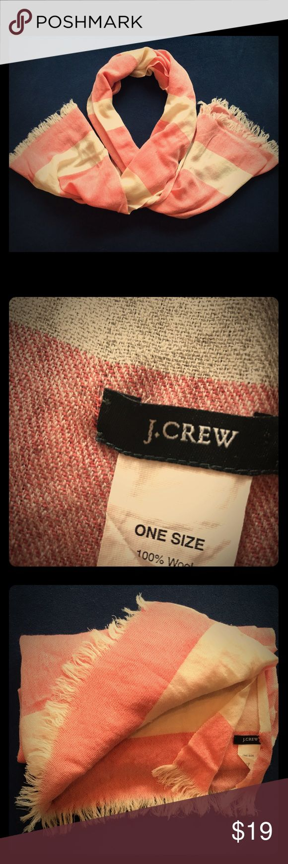 J Crew All Wool Nautical Scarf Be whisked away in the breeze with this beautiful and soft all wool scarf from J CREW. It is striped light red and cream, giving it a vintage feel. And, don't forget the tasseled ends to add some flare to your easy breezy look. Add a dash of class to your outfit with this versatile piece! Perfect for summer afternoons and nights when the breeze picks up. See pics for more about its gently loved condition. No stains, carefully stored in a smoke free environment…