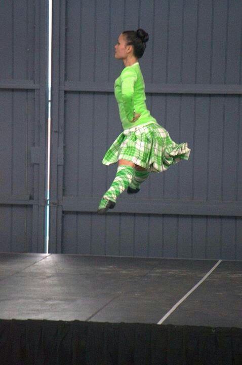 America: Kilt with lime green jacket from the side #buchanan #green #tartan