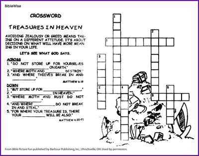 Treasures In Heaven Crossword Puzzle Kids Korner