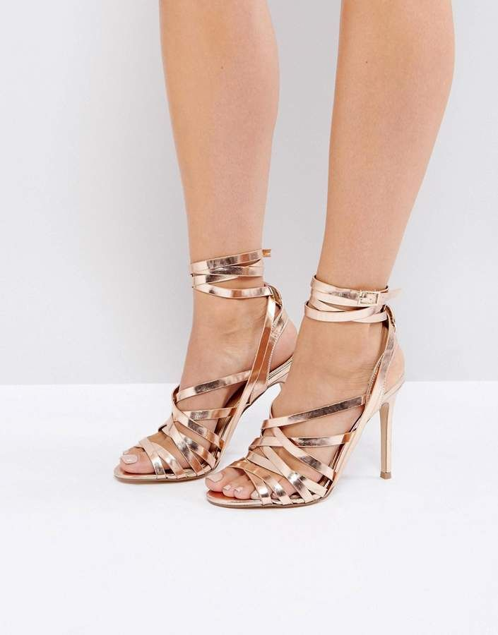 f65248aae5c Lipsy Tie Up Sandals - Rose Gold Heeled Sandals Tie Up High Heels ...