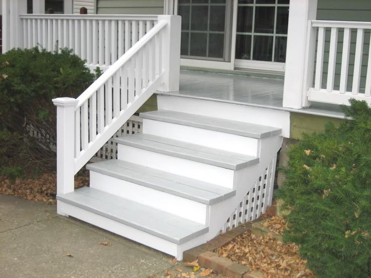 Best Grey And White Porch Steps Porch Steps Front Porch 400 x 300