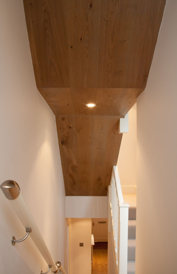 updside down flooring, a wonderful use of timber cladding on the ceiling gives a contemporary feel www.ecora.co.uk