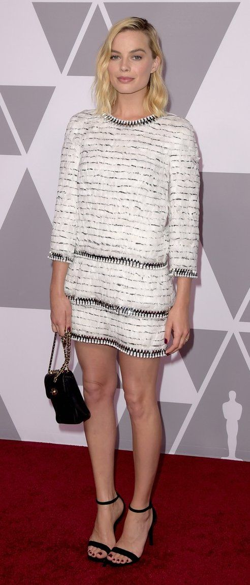 Margot Robbie in Chanel attends the 90th Annual Academy Awards Nominee Luncheon in L.A. #bestdressed