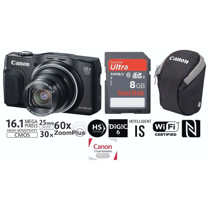 CANON - BLK BRIDGE BUNDLE - CANON – POWERSHOT SX700 HS BLACK BUNDLE FEATURES Ultra compact 30x zoom Capture superb long-range close ups with a huge 30x optical zoom in an ultra-compact and pocketable body that's easy to carry wherever you go. Or get up to 60x closer with no loss of quality using ZoomPlus. Fit more in the frame for great group shots and stunning landscapes with 25mm ultra wide-angle. Shoot in any light Capture your travels in stunning quality anywhere and at any time of day…
