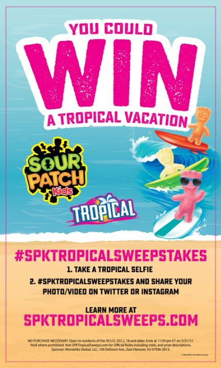 #ad Enter the Sour Patch Kids Tropical Vacation Sweepstakes for a chance to win a trip for four to Hawaii! Just submit a tropical selfie to Twitter or Instagram using the hashtag #spktropicalsweepstakes.