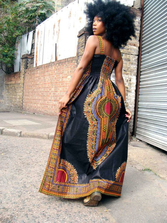 African DashikiPrint Maxi Dress S/M Black by dorisanddoris on Etsy, $120.00 ...such a versatile dress...